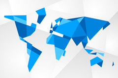 三维几何形世界地图矢量素材