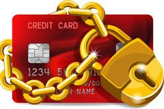金色锁头与信用卡设计矢量素材