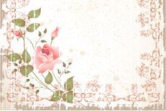 复古斑驳玫瑰花背景矢量素材