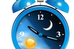 蓝色闹钟设计矢量素材