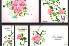 粉色玫瑰邀请卡矢量素材