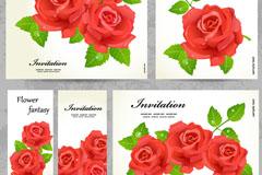 红玫瑰邀请卡矢量素材