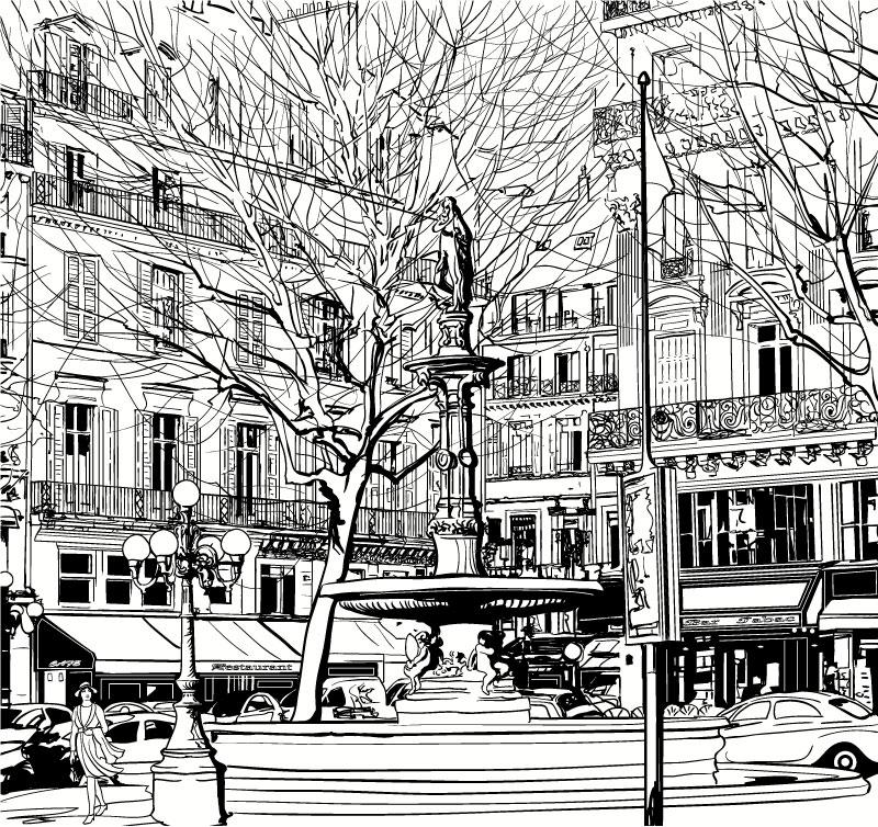 手绘城市建筑街景矢量素材图片
