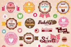 精美冰淇淋与甜点标签矢量素材