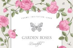 粉色玫瑰装饰文本背景矢量素材