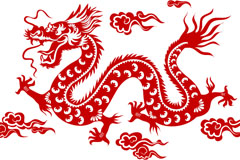 红色中国龙剪纸矢量素材