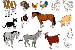 卡通农场动物设计矢量素材