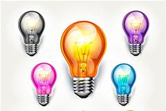 精美彩色灯泡设计矢量素材