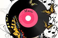 音乐碟片与蝴蝶背景矢量素材