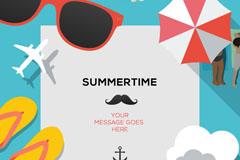 创意夏日度假背景矢量素材