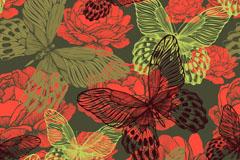 红色牡丹花与蝴蝶背景矢量素材