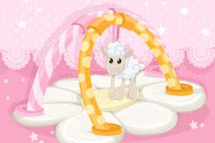 粉色羊羔婴儿背景矢量素材