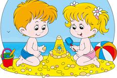 卡通沙滩儿童背景矢量素材