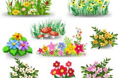 9款卡通花丛设计矢量素材