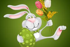 复古彩蛋兔子背景矢量素材