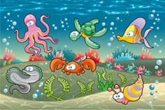 卡通海底世界插画矢量素材