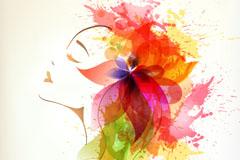 彩墨花卉女子头像矢量素材