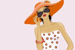 夏日时尚女郎设计矢量素材