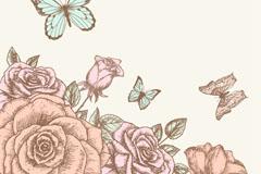 手绘玫瑰与蝴蝶设计矢量素材