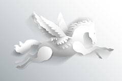 白色剪纸飞马设计矢量素材