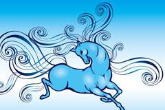 蓝色彩绘马设计矢量素材