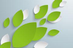 立体树叶剪纸背景矢量素材