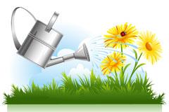 花洒壶和花园背景矢量素材
