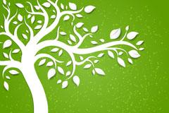 创意绿树剪纸背景矢量素材
