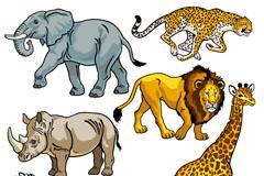 6个非洲野生动物设计矢量素材