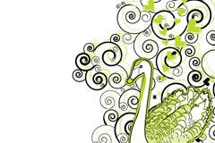 绿色天鹅花纹背景矢量素材