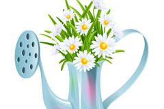 精美花洒壶与雏菊矢量素材