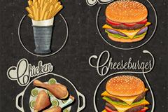 4款快餐食品标签矢量素材