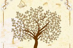 复古树木与蝴蝶背景矢量素材