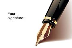 精美钢笔背景矢量素材