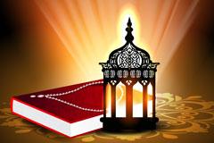 精美古兰经与灯背景矢量素材