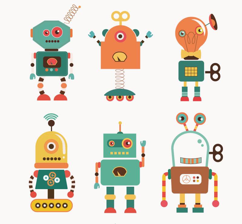 6款卡通机器人矢量素材