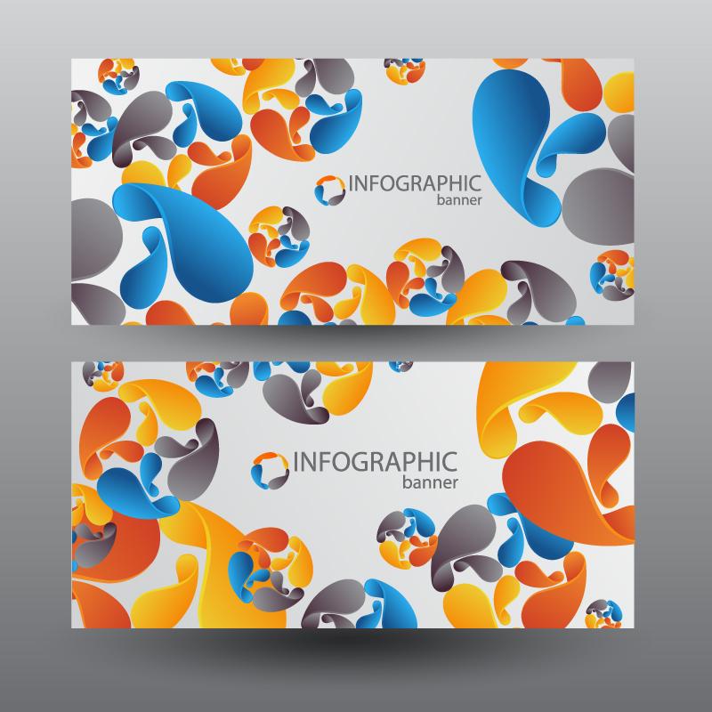 彩色抽象图形装饰卡片矢量素材