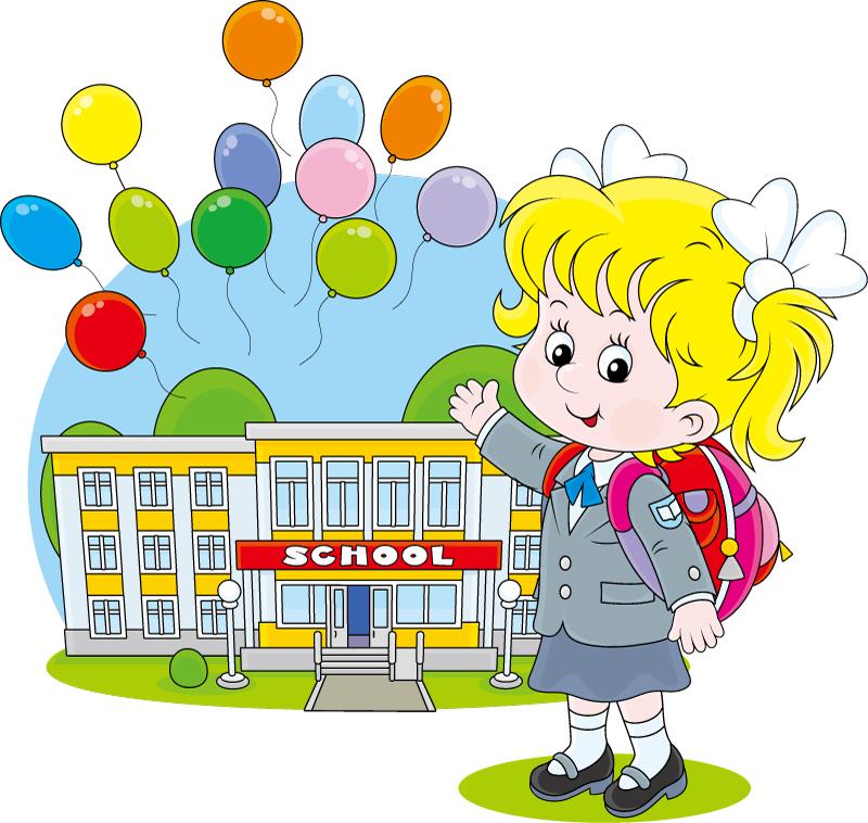 卡通开学女孩插画矢量素材