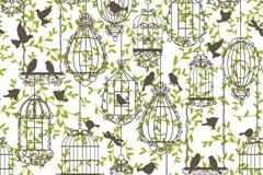 彩绘鸟与鸟笼矢量素材