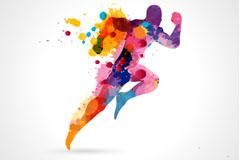 彩色喷绘奔跑男子矢量素材