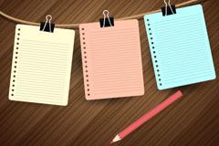 彩色铅笔与�M格纸矢量素材