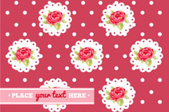 玫瑰花与蕾丝边背景矢量素材