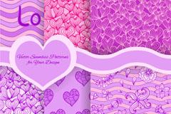 紫色系花纹爱心背景矢量素材