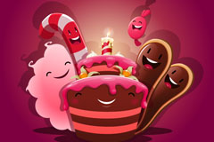 可爱卡通生日蛋糕矢量素材