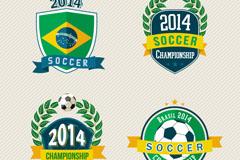 2014巴西足球世界杯标签矢量素材