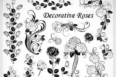 精美手绘玫瑰花矢量素材