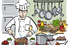 卡通烹饪厨师插画矢量素材