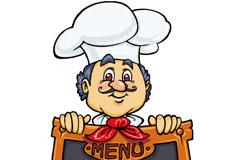 卡通厨师与黑板菜单矢量素材