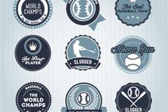 圆形棒球运动标签矢量素材