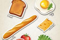 创意剪纸西式早餐矢量素材
